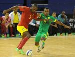 Nhlanhla Zwane of South Africa challenges  Manuel Francisco of Mozambique during the Futsal African Cup of Nations match between South Africa and Mozambique on 15 April 2016 at Ellis Park Stadium Pic Sydney Mahlangu/ BackpagePix